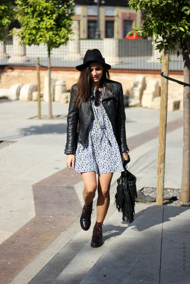 Pretty Floral Dress with Black Leather Jacket
