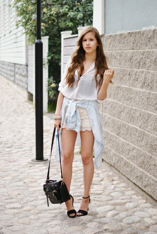 Pretty Outfit Idea with Crochet Shorts