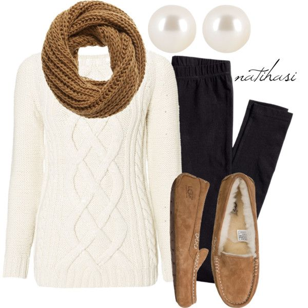 Pretty Outfit Idea with White Sweater for Fall
