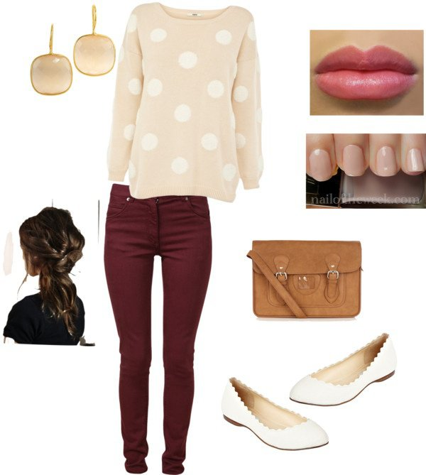 Pretty Polka Dot Outfit Idea for Fall 2014