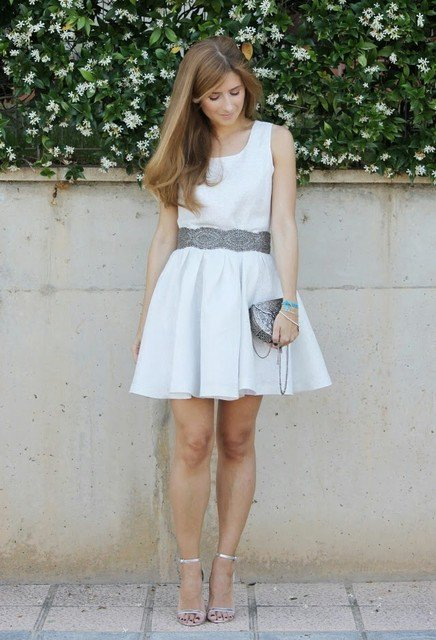 Pretty White Dress Outfit Idea with Silver Shoes