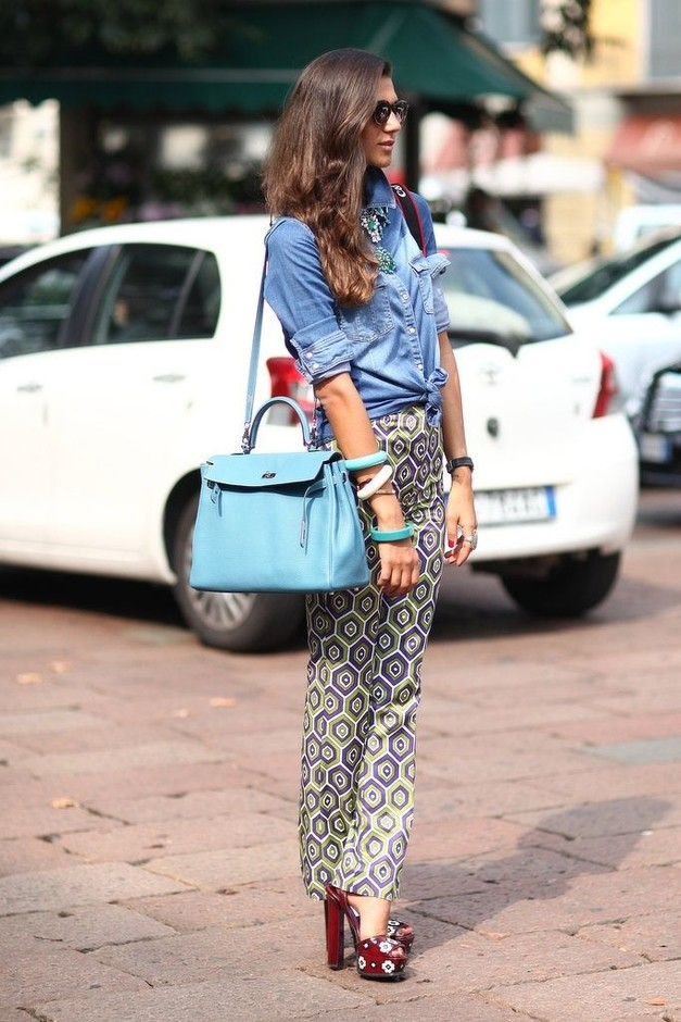 Printed Pants with Denim Blouse