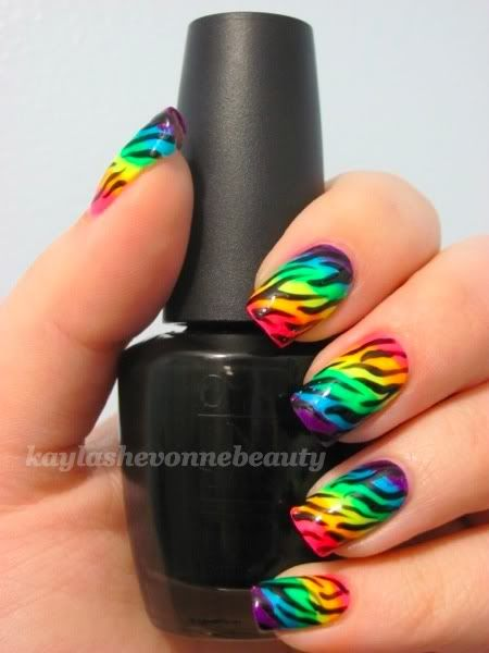 Printed Rainbow Nail Art Design