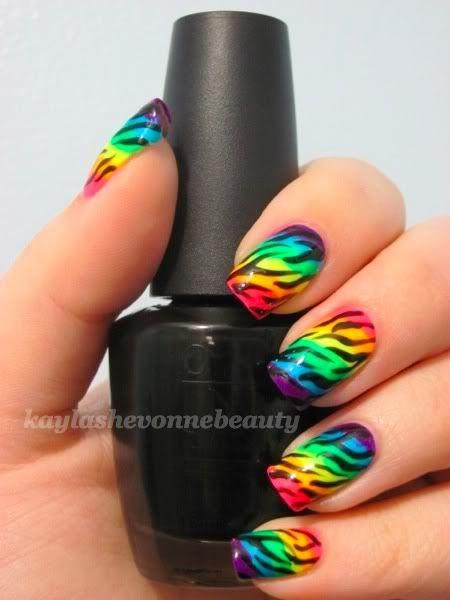 Printed Rainbow Nail Art Design