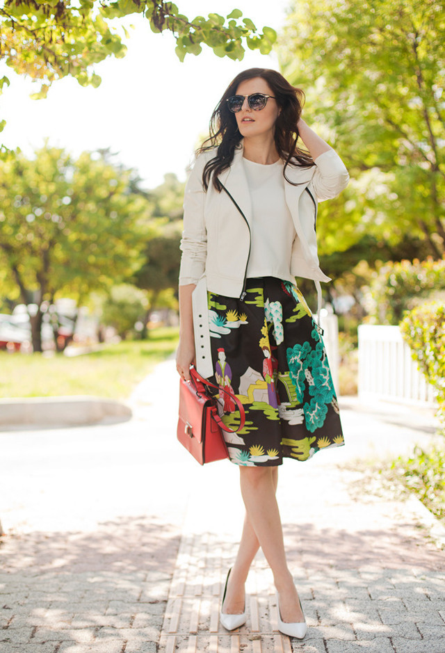 Printed Skirt Outfit Idea for Fall 2014