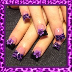 Purple Leopard Nail Art Design for French Manicure