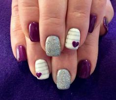 18 fantastic silver nail designs pretty designs purple and silver nail design prinsesfo Choice Image