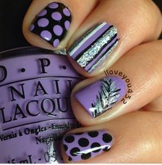 Purple and Silver Nail Design