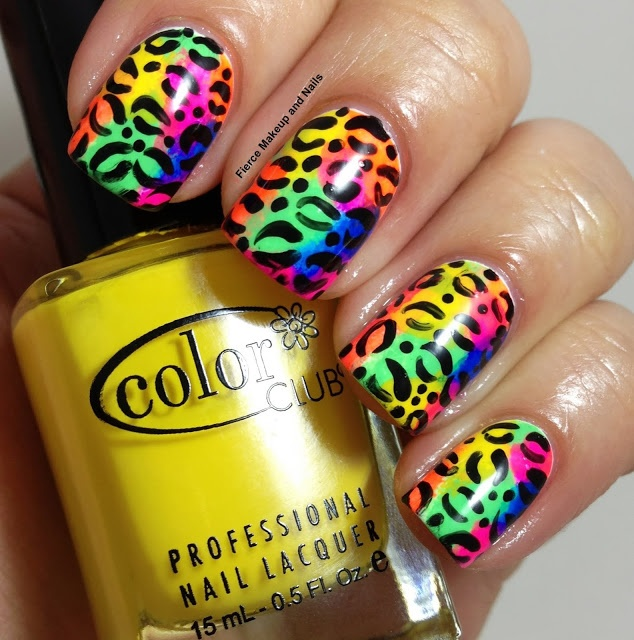 Rainbow Leopard Nail Art Design