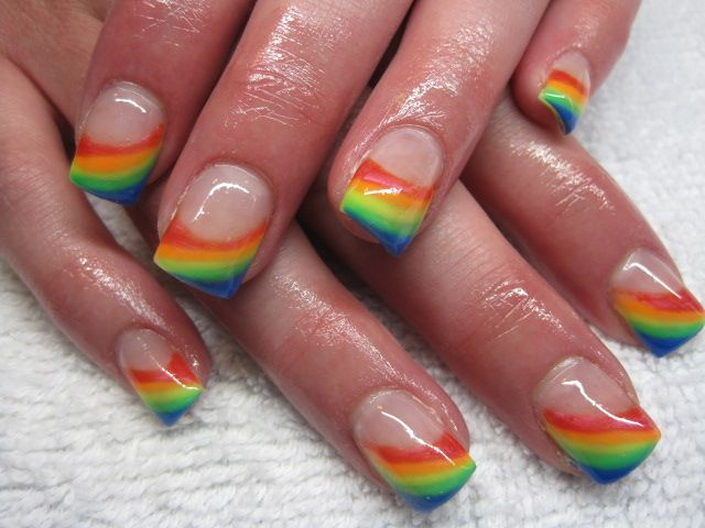 Rainbow Nail Art Design for French Manicure