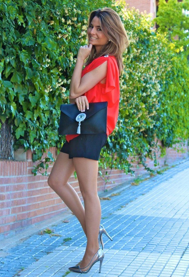 Red Blouse Outfit Idea with Silver Pumps