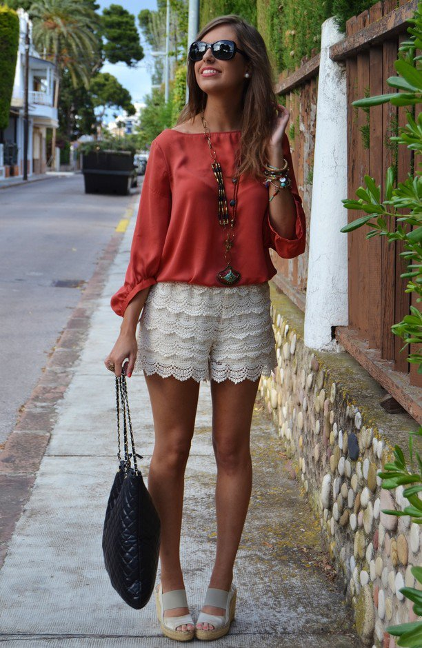 Red Blouse with White Lace Shorts