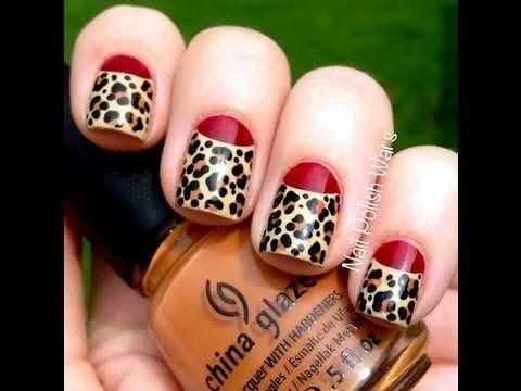 Red Leopard Nail Art Design