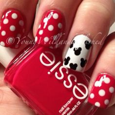 Red Mickey Mouse Nails