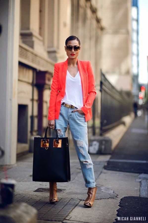 Ripped Jeans Outfit Idea with Bright Colored Blazer