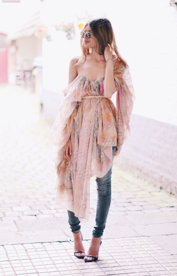 Romantic Chiffon Dress with Jeans