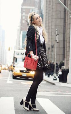 Romantic Polka Dot Outfit Idea