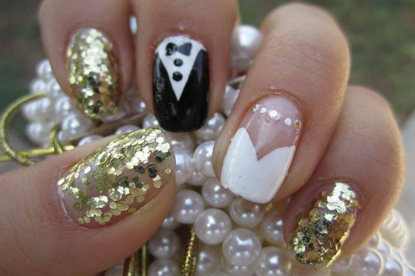 Shimmer Nail Design for Wedding