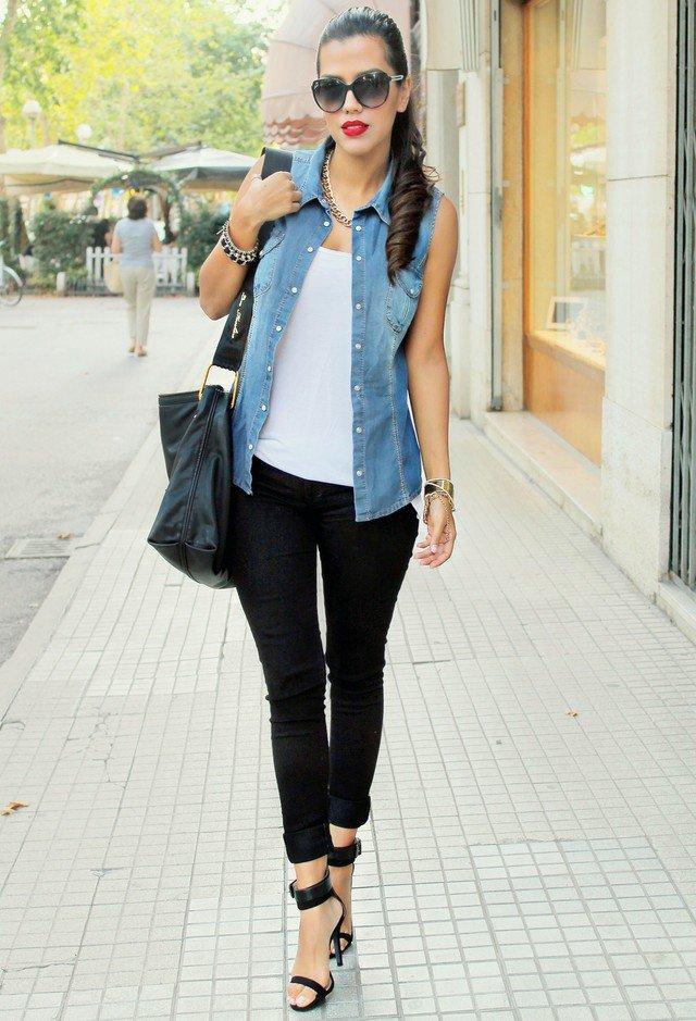 Simple Outfit Idea with Denim Vest