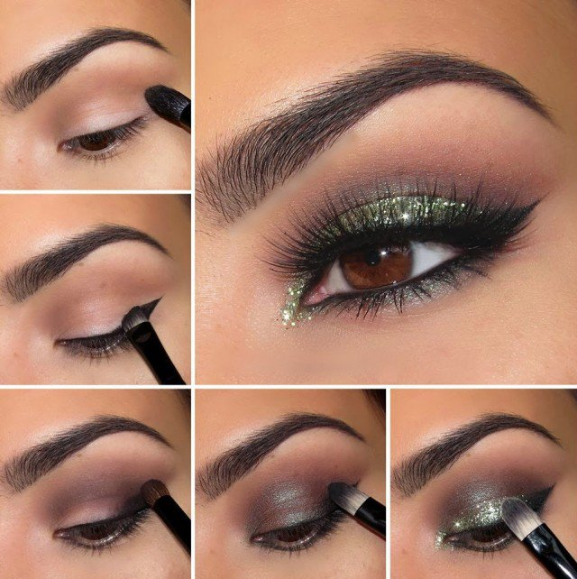 Smoky Eye Makeup Tutorial with Green Shimmer Shadow