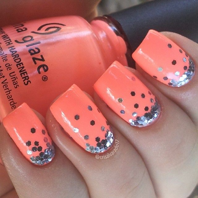 Sparkly Orange Nail Design - 18 Pretty Orange Nail Designs - Pretty Designs