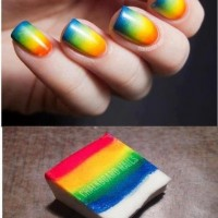 Sponge Rainbow Nail Art Design