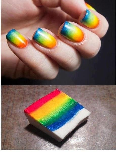 Sponge Rainbow Nail Art Design