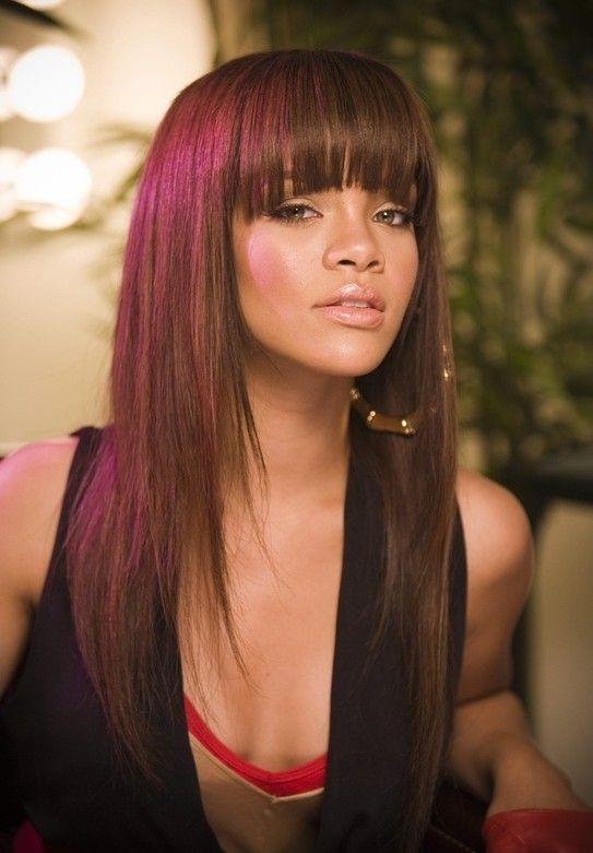 Straight Layered Haircut with Blunt Bangs