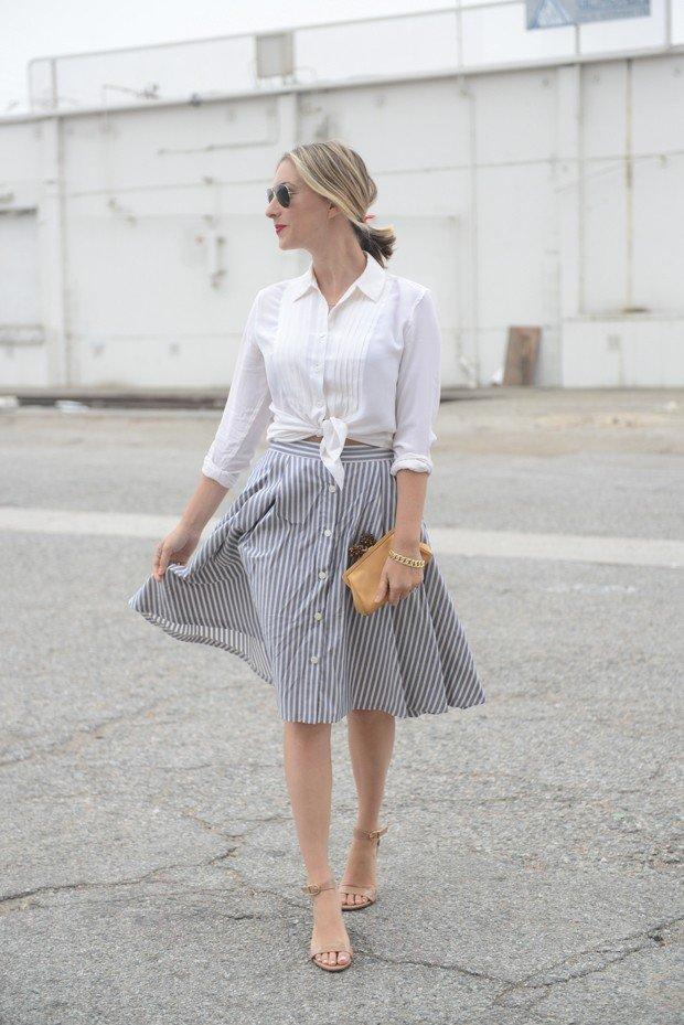 Stripe Midi Skirt Outfit Idea