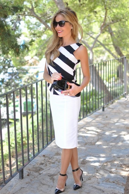 Stripe Tank Top with White Midi Skirt for Work