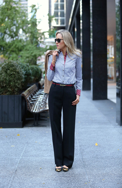 Striped Blouse with Black Pants for Work Days