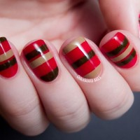Striped Cherry and Chocolate Nail Design