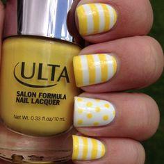 Striped Yellow Nail Design