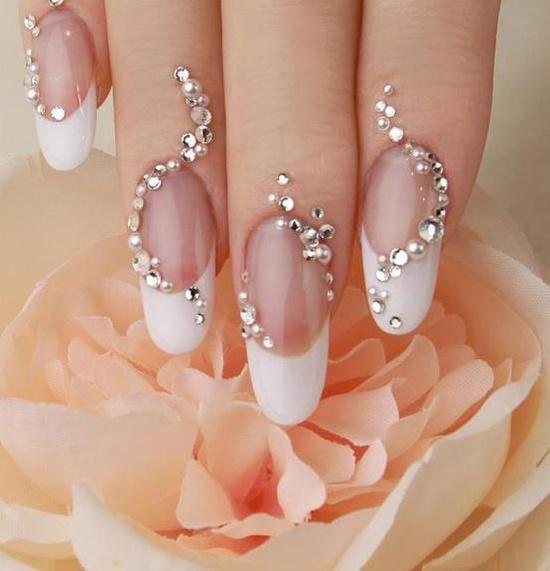 Stunning Diamond Embellished Nail Design