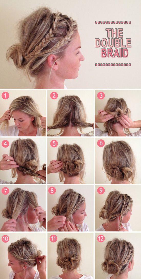 Stylish Double Braid Bun Hairstyle