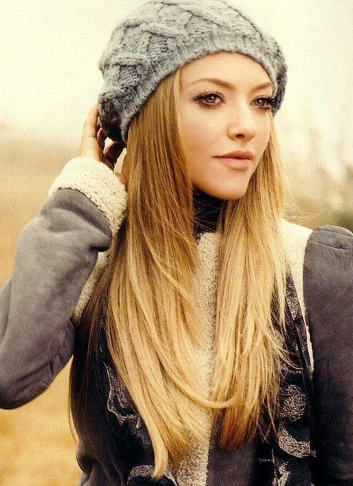 Stylish Long Straight Hair with a Hat