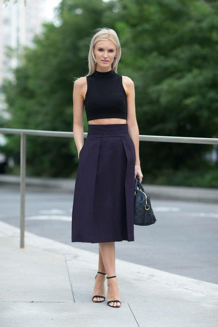 Stylish Outfit Idea with Black Midi Skirt