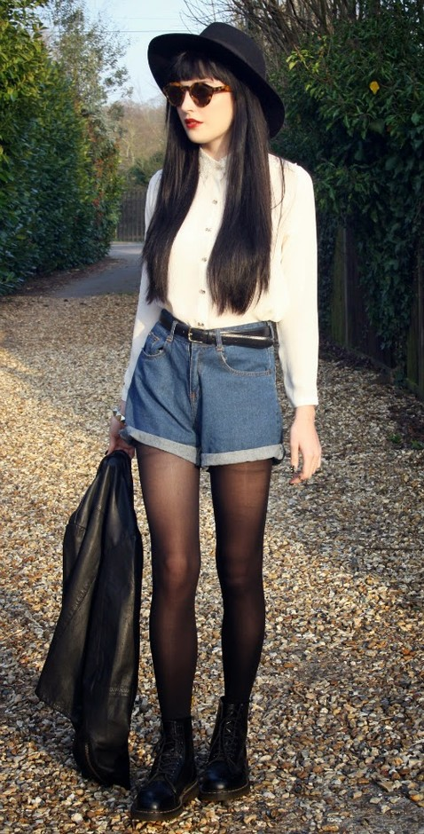 White Blouse and Denim Shorts for Fall 2014