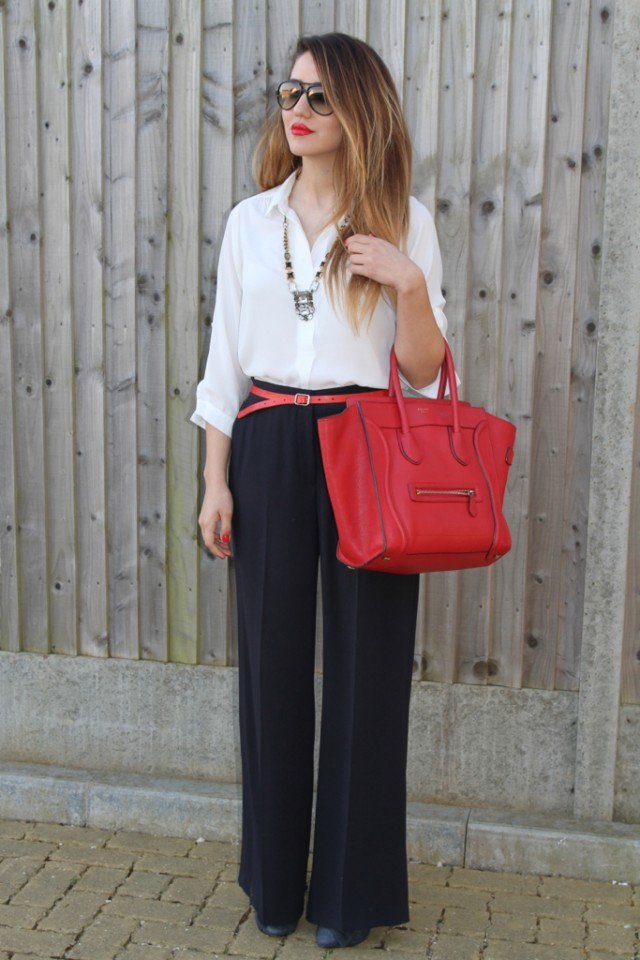 White Blouse with Black Palazzo