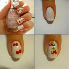 White Cherry Nail Design