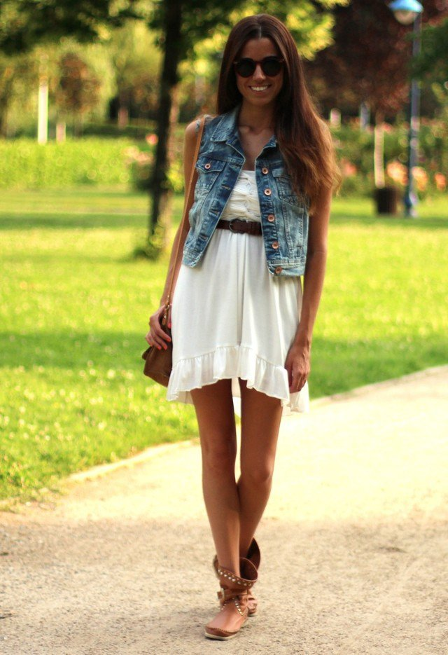 White Dress Outfit Idea with Denim Jacket