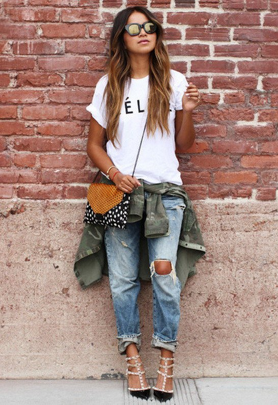 White Shirt and Ripped Jeans Outfit