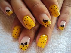 Yellow Nail Design With Bows