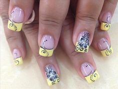 Yellow Nail Design for French Manicure