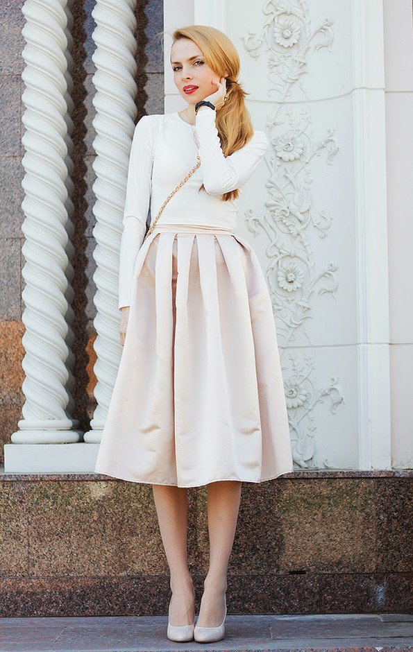 All White Outfit Idea with Midi Skirt