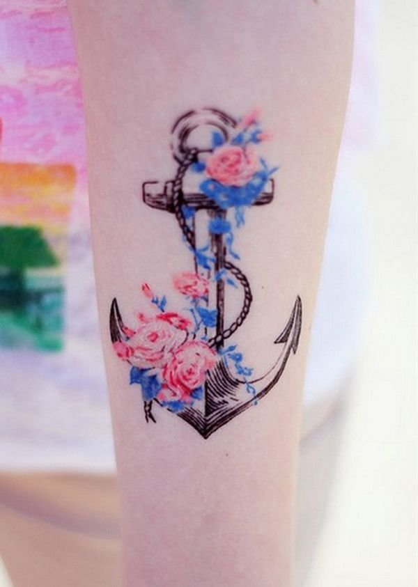 Anchor and Flowers Tattoo