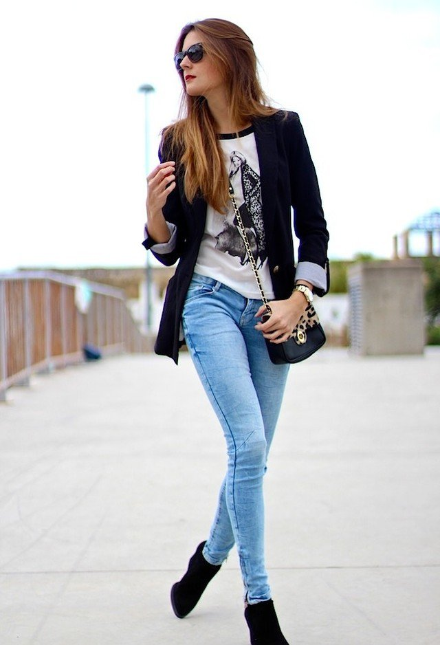 Black Blazer and Denim Jeans