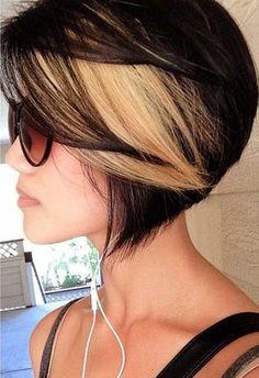 Black Bob Haircut With Blonde Highlights