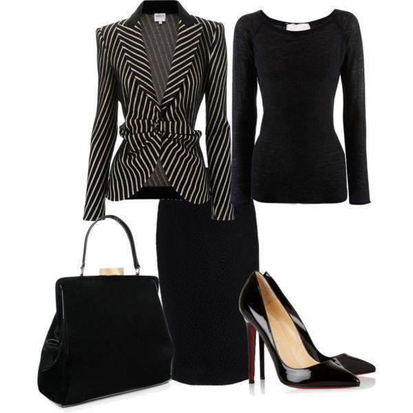 Black Outfit Idea with Stripe Blazer