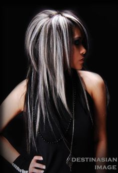 Black Wavy Hair With Silver Blonde Highlights